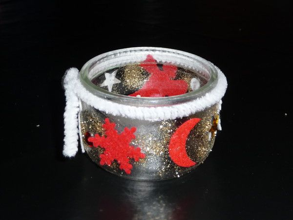 Photophore de noel 1 3 for Decoration pot de yaourt en verre